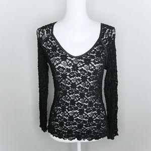 Hanky Panky Black Lace Longsleeve Semi Sheer Shirt